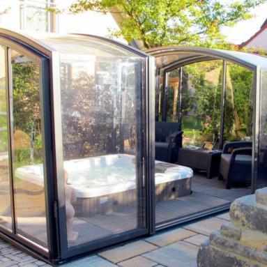abri de spa ext rieur ind pendant coulissant mobile r tractable rotonde juralu. Black Bedroom Furniture Sets. Home Design Ideas