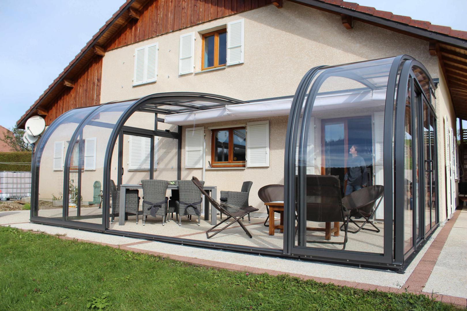 Abri de terrasse coulissant et veranda retractable for On the terrasse