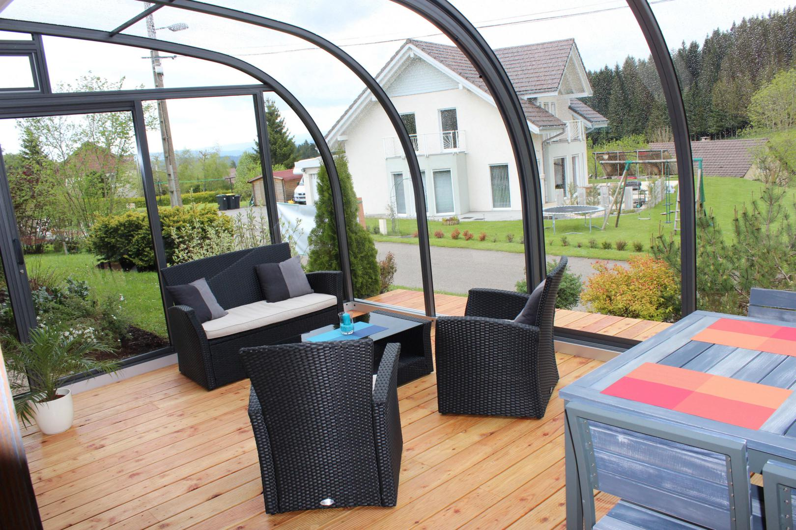 Solar Terrasse abris de terrasse 3 saisons de type solar véranda mobile rétractable